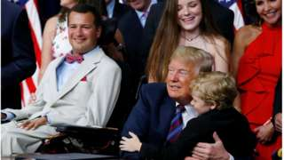 "Seven-year-old Muscular Dystrophy patient Jordan McLinn, from Indiana, is embraced by U.S. President Donald Trump during the president""s signing of the ""Right to Try Act,""."