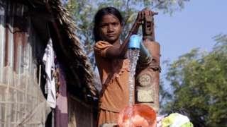Muslim child at displaced persons camp in Rakhine state, Myanmar - 23 January