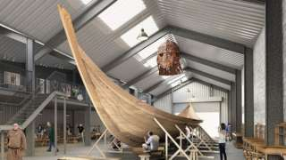 CGI image of the Anglo-Saxon ship at Woodbridge