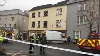 A safety cordon was placed around the partially collapsed building