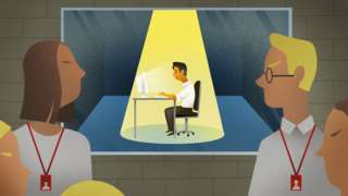 Illustration showing people observing an office worker through a secret screen