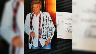 Rod Stewart and cheque
