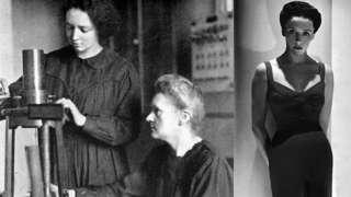 Irene Curie junto a su madre y Eve Curie.