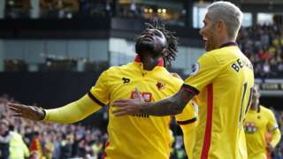 Substitute Isaac Success celebrates scoring for Watford against Bournemouth
