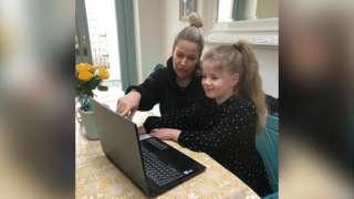 Sarah home schooling her daughter