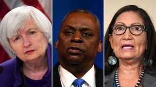 Biden, kabinesinde (Soldan sağa) Janet Yellen, Lloyd Austin ve Deb Haaland'a önemli görevler veriyor