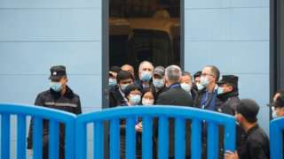 Members of the World Health Organization (WHO) team tasked with investigating the origins of the coronavirus disease (COVID-19) visit Huanan seafood market in Wuhan, Hubei province, China January 31, 2021