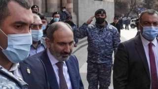 Armenian Prime Minister Nikol Pashinyan (2nd left) in central Yerevan. Photo: 25 February 2021