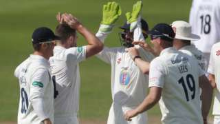 Durham's Ben Raine took four Sussex wickets for no runs in 16 balls either side of lunch at Hove