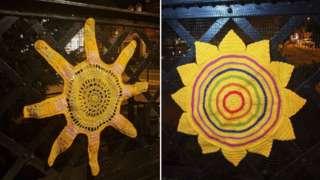 Yarn bomb sunshine artwork