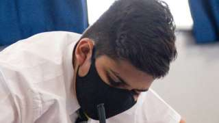 School pupil in a mask