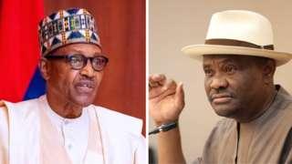 Nigeria President Muhammadu Buhari, Rivers state govnor Nyesom Wike