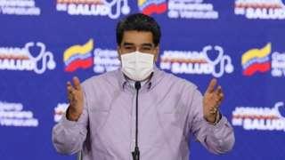 Venezuela's President Nicolas Maduro speaking during a televised message