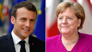 French President Emmanuel Macron and German Chancellor Angela Merkel are shown in a composite image