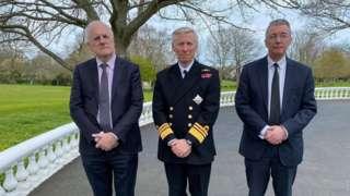 Deputy Peter Ferbrache, Vice Admiral Sir Ian Corder - Lieutenant Governor of Guernsey and Bailiff of Guernsey