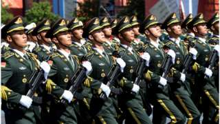 PLA troops march in Moscow