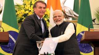 O presidente Jair Bolsonaro e o primeiro-ministro indiano Narendra Modi