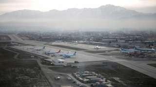 Kabil'deki Hamid Karzai Uluslararası Havaalanı'nın havadan görüntüsü (2016)