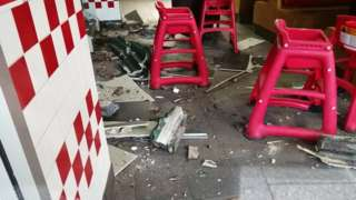 Damage at the Five Guys in Nottingham