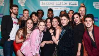 Alanis Morissette with the cast of Jagged Little Pill