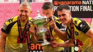 Harrogate players celebrate promotion