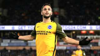 Florin Andone celebrates scoring for Brighton against Huddersfield
