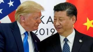 오사카 G20 회담 당시 트럼프 대통령과 시진핑 주석