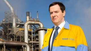 George Osborne in a Tata Steel jacket looking sad