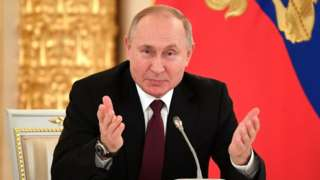 Russian President Vladimir Putin speaks during his meeting with business community at the Kremlin in Moscow, Russia