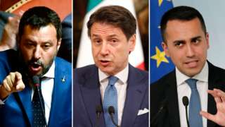 Matteo Salvini, leader of the League, Italy's Prime Minister Giuseppe Conte and Five Star leader Luigi Di Maio