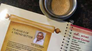 P Rajagopal, founder of the Saravana Bhavan food chain, pictured on a menu at one of the popular restaurants