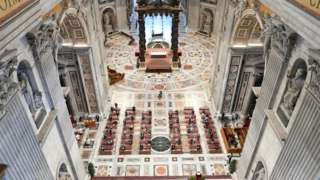"""The Pentecost Mass led by Pope Francis in the Blessed Sacrament chapel of the St. Peter""""s Basilica"""