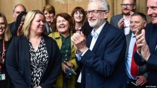 Jeremy Corbyn with the MP for Peterborough, Lisa Forbes