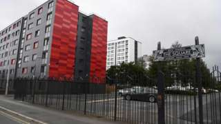 A general view shows a development containing the residential blocks Beech Court, Malus Court, Salix Court and Hornbeam Court run by Pendleton Together in the Pendleton area of Salford