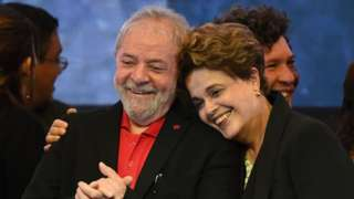 Former Brazilian presidents Luis Inacio Lula da Silva and Dilma Rousseff at the Workers Party conference in June 2017