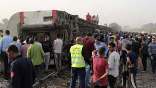 Derailed train carriages after a deadly train accident near Toukh, Egypt (18 April 2021)