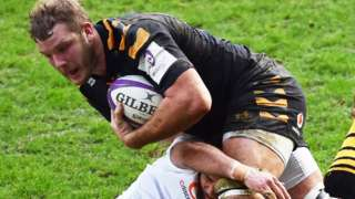 England's Joe Launchbury runs at the Bordeaux defence in Wasps' home defeat at the Ricoh Arena