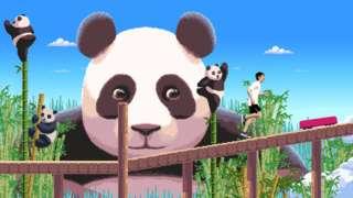 Screengrab of game showing pandas and runner