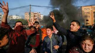 Palestinians protest in Gaza City. Photo: 29 January 2020