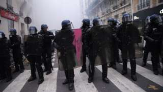 Image shows police at a recent protest in Paris