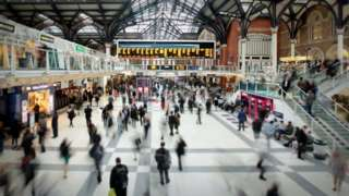 Commuters at London Liverpool Street Station