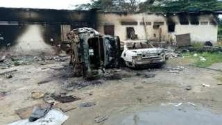 Part of Oyigbo police station wey jaguda boys burn fire