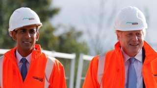 Boris Johnson and Rishi Sunak on a visit to a construction site