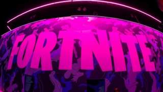 The word Fortnite lit up with pink light