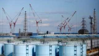 日本福島核電站的核污水儲存罐