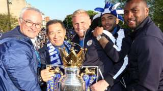 Manager Claudio Ranieri, Chairman Vichai Srivaddhanaprabha, Kasper Schmeichel, Danny Simpson and Wes Morgan of Leicester City during the Leicester City Barclays Premier League Winners Bus Parade in Leicester City on May 16th, 2016 in Leicester