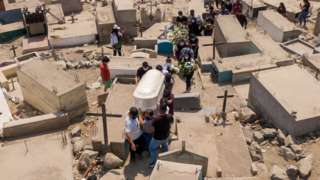 """Aerial view of people walking among tombs during a burial at """"Martires 19 de Julio"""" cemetery on April 17, 2021 in Comas, in the outskirts of Lima, Peru"""