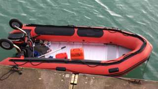 The dinghy the seven migrants are believed to have travelled in