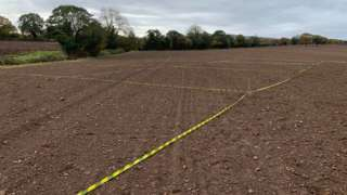 The field in Rossett where the discovery was made