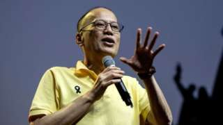"""Former Philippine president Benigno Aquino delivers a speech ahead of the commemoration of the 33rd anniversary of the """"People Power"""" revolution in Manila on 23 February 2019."""